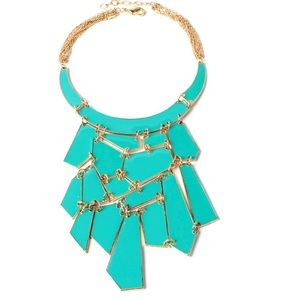 NIB. Geometric Enamel Bib Necklace. Turquoise.